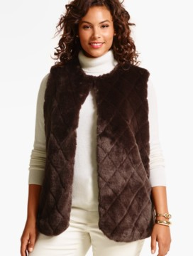 Womans Quilted Faux-Fur Vest