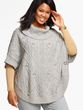 Womans Aran-Stitched Cowlneck Poncho-Ash Heather