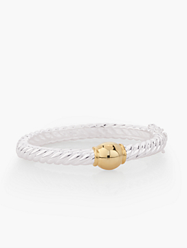 Sterling Silver Two-Tone Rope Bangle