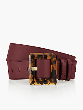 Pebbled Leather Tort-Buckle Belt