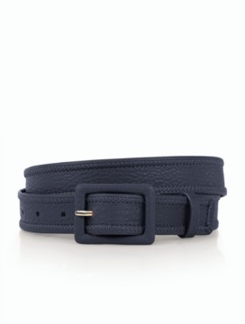 Womans Square-Buckle Belt - Pebbled Leather