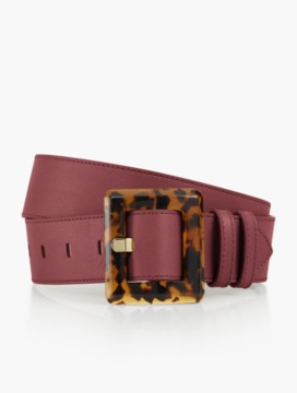 Womans Leather Tort-Buckle Belt