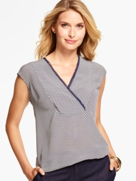 V-Neck Silk Blouse- Geo-Lattice