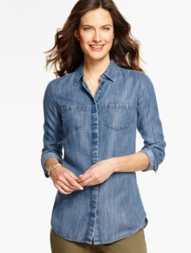 Long Slit-Back Shirt-Isle Blue Wash