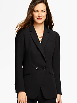 Refined Crepe Double-Breasted Blazer