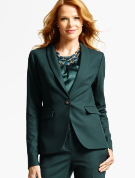 Luxe Wool Piqué Single-Button Blazer