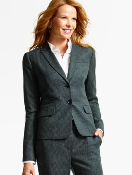 Luxe Diamond Double-Weave Double-Button Blazer