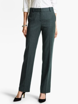 Luxe Diamond Double-Weave Straight-Leg Pant