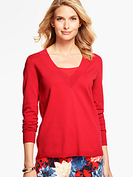 Woven-Back V-Neck Sweater