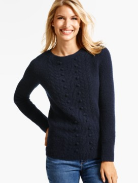 Cabled Bouclé Cashmere Sweater