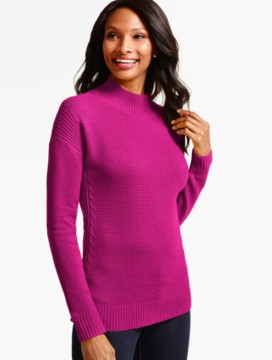 Pointelle-Ribbed Panel Mockneck