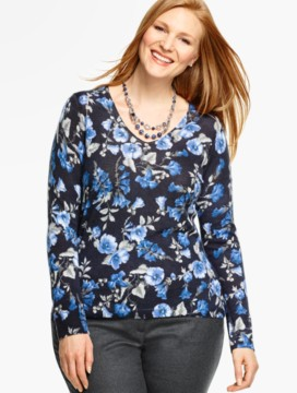 Merino Wool V-Neck Sweater - Arbor Flowers