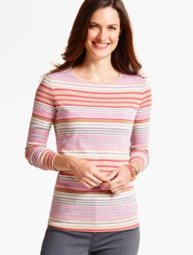 Long-Sleeve Crewneck Tee-Mixed Stripes