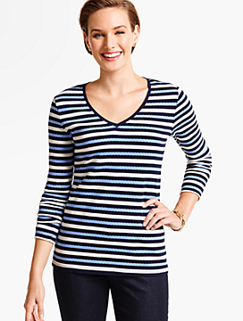 Long-Sleeve V-Neck Tee-Bold Stripes