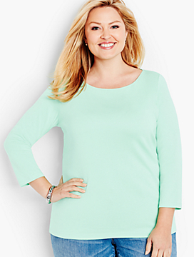 Pima Three-Quarter-Sleeve Bateau Neck-The Talbots Tee