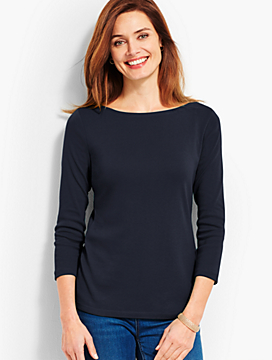 Three-Quarter-Sleeve Pima Bateau Tee