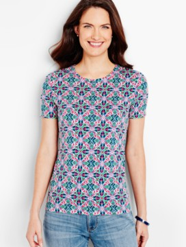 Short-Sleeve Crewneck Tee-Medallion Tile-The Talbots Tee