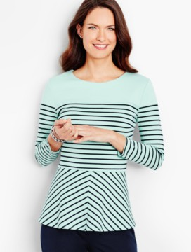 Ponte Peplum Top-Sanibel Stripe