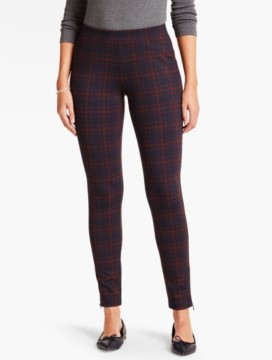 Ponte Knit Legging-Plaid