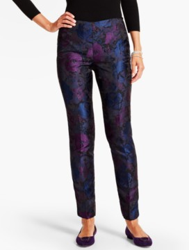 Rose Jacquard Tailored Ankle Pant