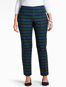 Blackwatch Plaid Tailored Ankle Pant-Curvy Fit