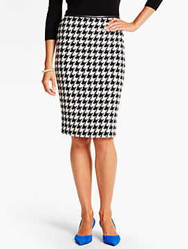 Snowy Houndstooth Pencil Skirt