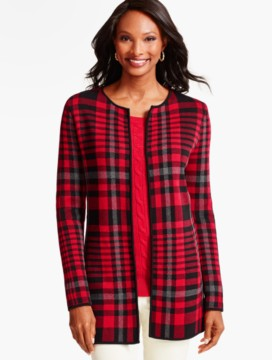Bold Plaid Sweater Jacket