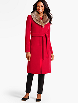 Faux-Fur Collar Belted Coat