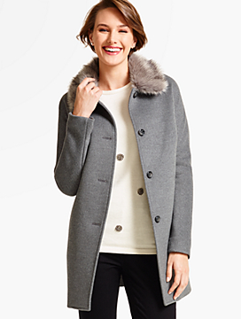 Short Faux Fur-Collar Coat-Neutral