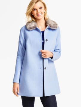 Short Faux Fur-Collar Coat