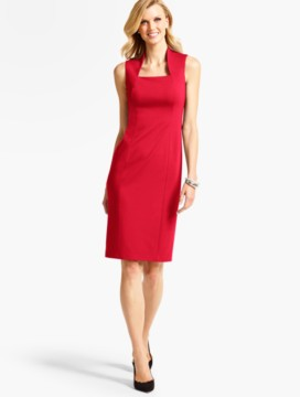 Ponte Banded Squareneck Sheath Dress