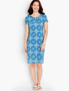 Cotton Interlock Knit Shift-Medallion Print