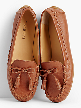 Everson Whipstitched Driving Moccasins-Pebbled Leather