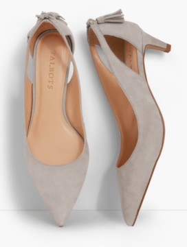 Eri Tasseled Kitten-Heel Pumps-Suede