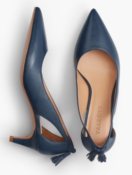 Eri Tasseled Kitten-Heel Pumps-Soft Leather