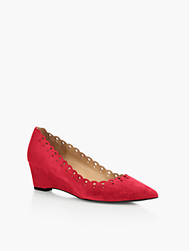 Whitney Perforated Scallop Suede Wedges
