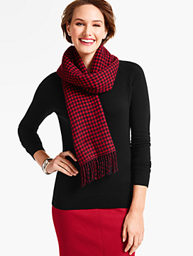 Fringed Cashmere Wrap-Checks