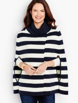 Stripe Cowlneck Cape