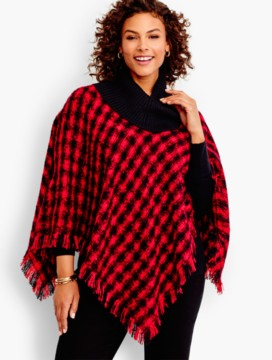Womans Fringed Plaid Boucle Poncho