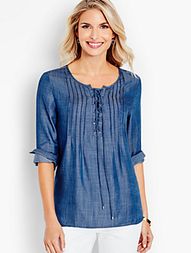Lace-Up Pintucked Denim Popover