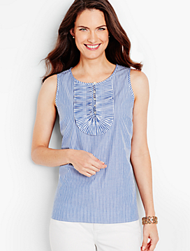 Pleated-Ruffle Top-Rhodes Stripe