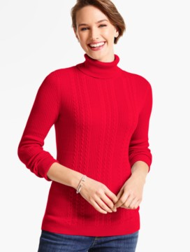 Cable-Ribbed Turtleneck