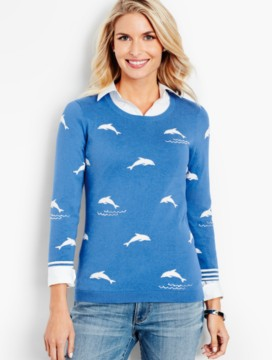 The Statement Sweater-Glistening Waves & Dolphins