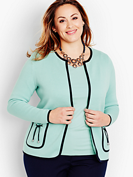 Tie-Pocket Sweater Jacket