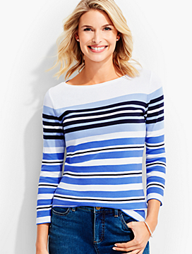 Three-Quarter-Sleeve Bateau Neck -Barrel Stripes-The Talbots Tee