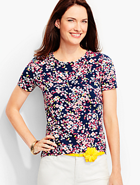 Short-Sleeve Crewneck -Dotted Flowers-The Talbots Tee