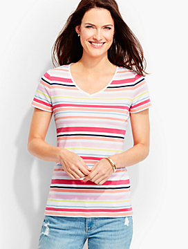 Short-Sleeve V-Neck -Stripes-The Talbots Tee