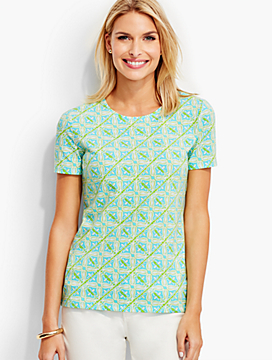 Short-Sleeve Crewneck Tee-Tile Print-The Talbots Tee