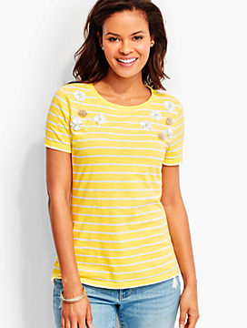 Beaded Flowers Stripe Tee
