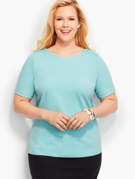 Scalloped Jewelneck Top